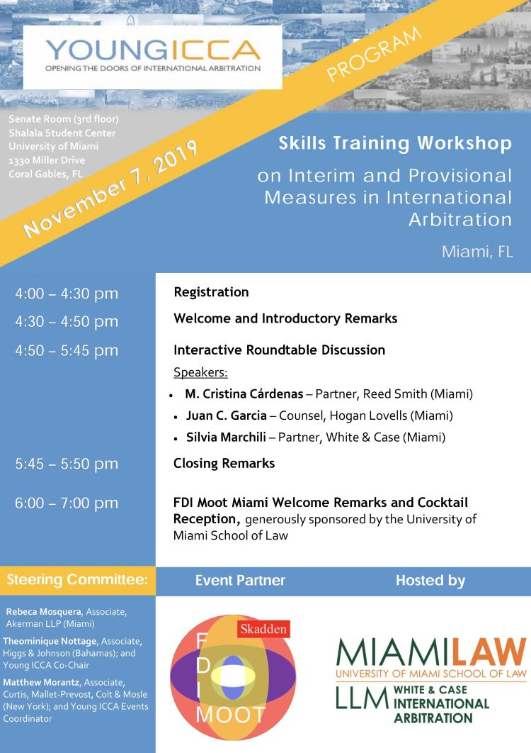 [Miami] Young ICCA Skills Training Workshop on Interim and Provisional Measures in International Arbitration